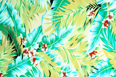 テクスチャ生地ヴィンテージ ハワイアン花し、背景の葉