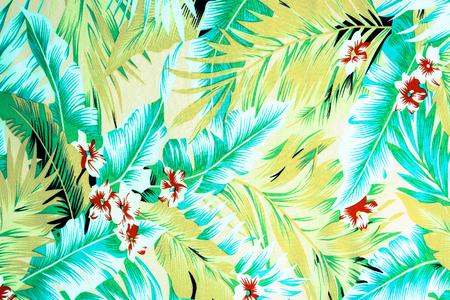 Textur Stoff Vintage hawaiische Blumen und Blätter für Hintergrund Standard-Bild - 44657661