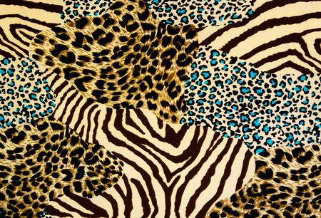 タイガー プリントとバック グラウンドのシマウマのテクスチャ ファブリック