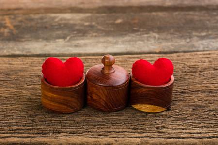 st valentin: Valentine heart and love wooden background vintage retro style Stock Photo