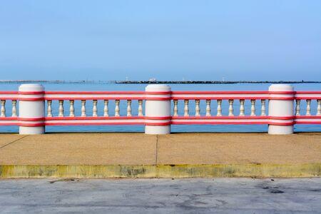 cement pole: cement pole prevent falling into sea Stock Photo