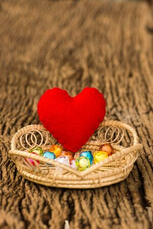 colorful beads: Red Heart and Colorful beads