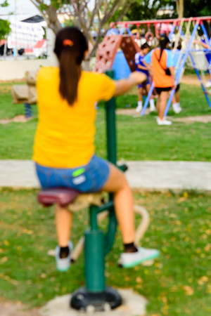 outdoor exercise: Garden Health and fitness exercise on blur background Stock Photo