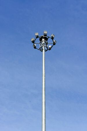 high light: A large and high light poles that are common on the streets in Thailand