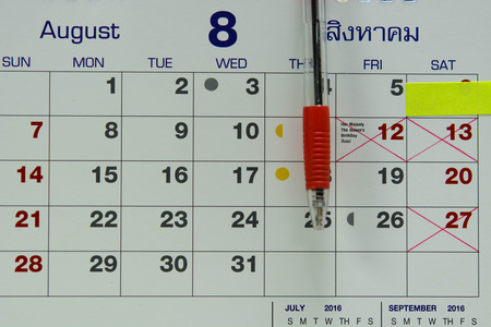 red pen: Red pen Write on calendar showing mothers day