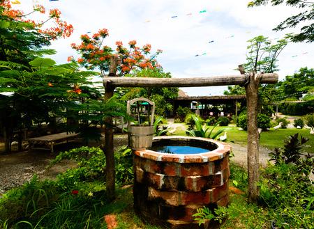 paver: Garden Backyard pond with plants brick paver patio trellis landscaping