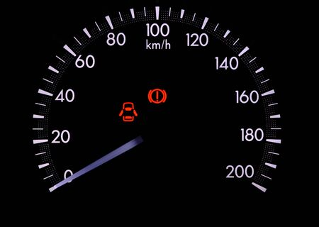 open car door: A warning light on a car dashboard Indicate the door is not completely closed Stock Photo