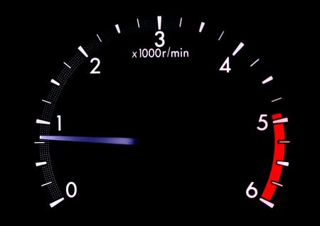 タコメーター、部分的なスピード メーター、水温計、車のダッシュ ボード 写真素材