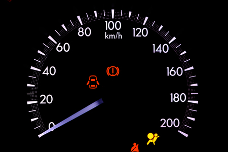 inhibit: warning lights in the car on black background