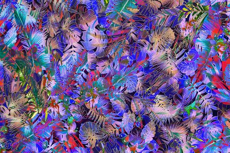 luau party: texture fabric Vintage Hawaiian parrot and leaves for background Stock Photo