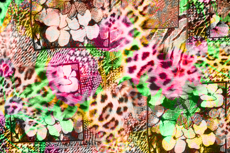 mottled skin: texture of print fabric striped leopard and flower for background Stock Photo