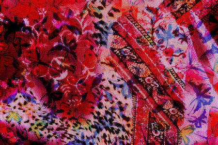 texture fabric tiger and flowers for background