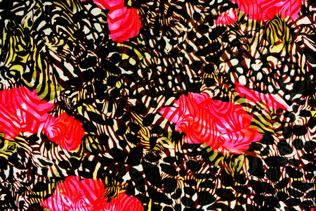 Texture fabric of leopard and rose for background Stock Photo