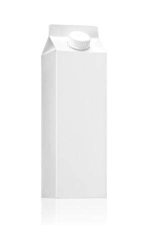 Milk or juice package on background white, isolated Realistic photo image