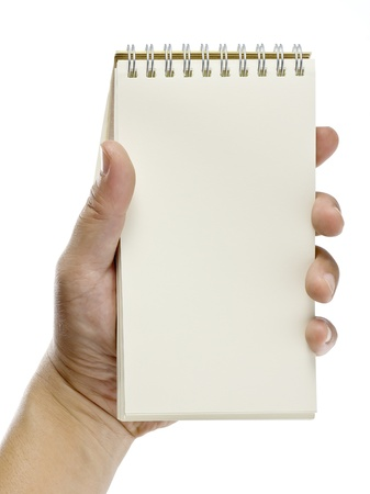 a hand holding a notebook, isolated on white background