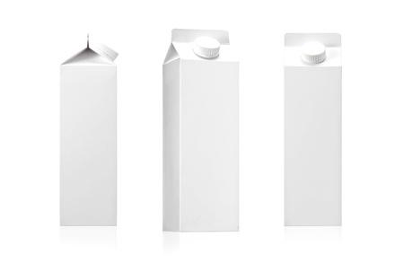 carton de leche: Blanco como la leche en blanco o jugo de la imagen paquete de fotos reales Foto de archivo