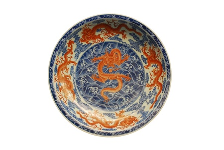 dynasty: five red Dragon painted on plate