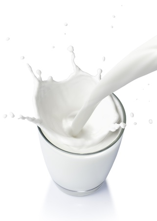 pouring a glass of milk creating splash on a white background from top view