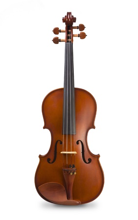 violin background: Classical wood violin - isolated on white background