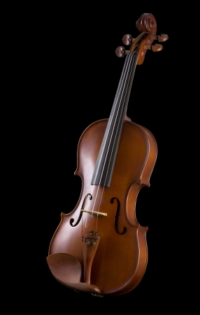 Beautiful wooden violin, Classical shape wood vintage violin with Space for text - isolated on black background photo