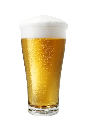 Glass of light beer close-up with froth isolated on a white background