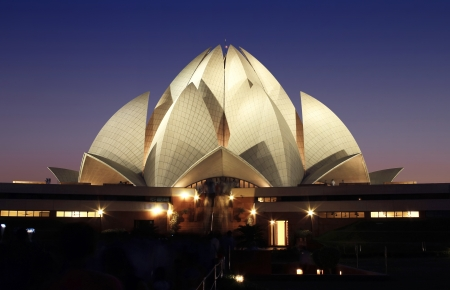 lotus temple at night, Bahai temple at Twilight in delhi, india photo