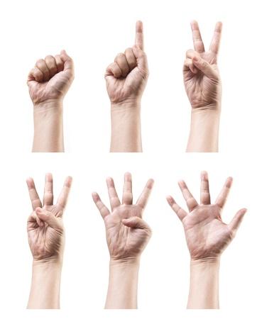 comunicacion no verbal: Juego de muestra de la mano contando aislado en blanco