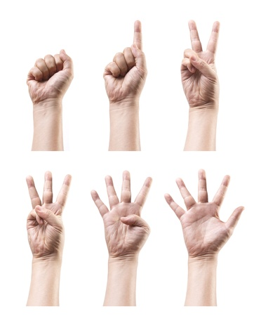 nonverbal communication: Set of counting hand sign isolated on white