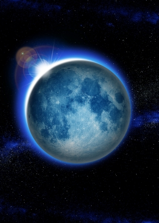 moonshine: Eclipse, full blue moon with sunrise in space, Rising Sun over lunar looking from the world, the planet, the earth