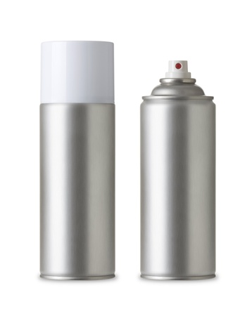 Blank aluminum spray paint can Realistic photo image, Aerosol Spray Metal Bottle  isolated on white background,