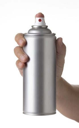 propellant: young  man hand holding a blank aluminum spray paint Can isolated on white background, male hand spraying an Metal aerosol Bottle, Stock Photo
