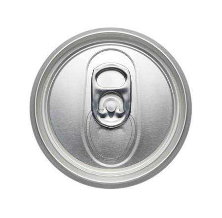 unopened: Top of an unopened soda or beer can Isolated on a white background can pull tab, Realistic photo image Stock Photo