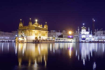 Golden Temple at night in Amritsar, Punjab, India  The most prominent Sikh Gurdwara in the world