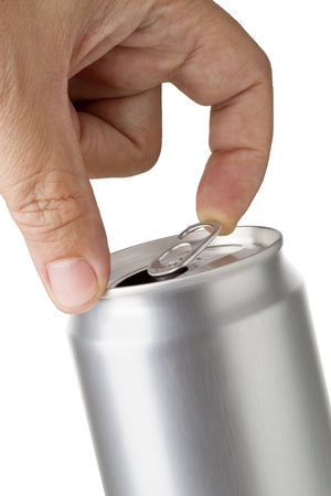a hand opening soda or beer can  Isolated on white background  Close up of can pull tab opening photo