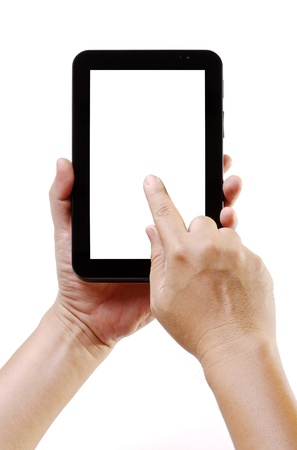 Hand holding android tablet pc like ipade with touching hand isolated on white background  Ebook, Mobile phone, Portable computer gadget with blank screen space for text or advertisement