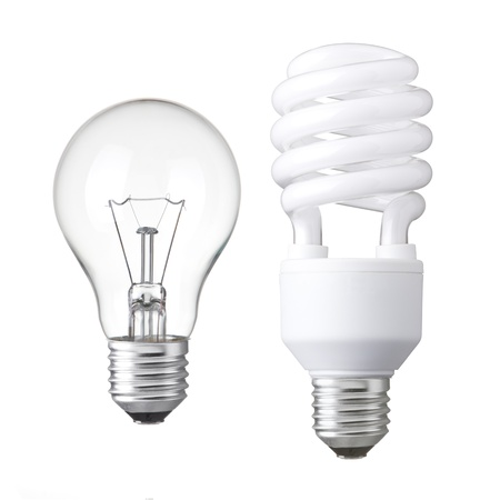 lamp power: Realistic photo image of light bulbs  isolated of Incandescent bulbs, fluorescent bulbs, orange old generation bulb, Tungsten bulb, and white energy saving bulb Stock Photo