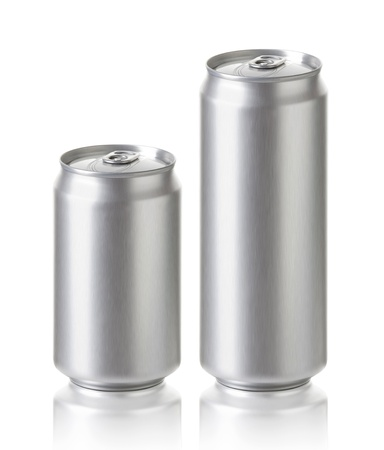 Blank aluminum cans, Realistic photo image  330 and 500 ml  Silver can with copy space, ideal for beer, lager, alcohol, soft drink, soda, lemonade, cola, energy drink, juice, water etc