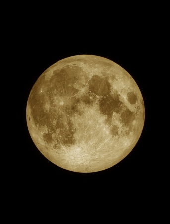 Close up surface textured of yellow full moon, lunar on dark night sky, black space background
