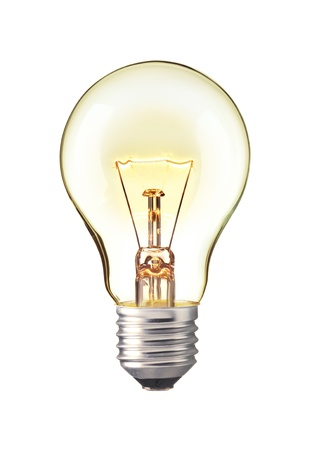 iluminado: Brillante bombilla de luz amarilla, realista foto imagen Vuelta de tungsteno bombilla aislada sobre fondo blanco