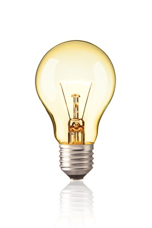 idea light bulb: turn on tungsten light bulb, Realistic photo image Glowing yellow light bulb isolated on white background