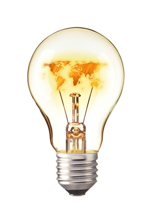 World Map,World atlas in tungsten light bulb