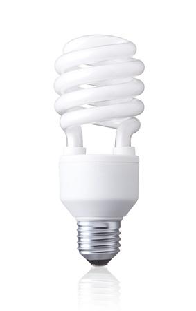 white energy saving bulb, Illuminated light bulb, CFL bulb, Realistic photo image on white background