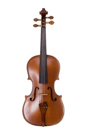 Classical shape wood vintage violin music instrument - isolated on white background