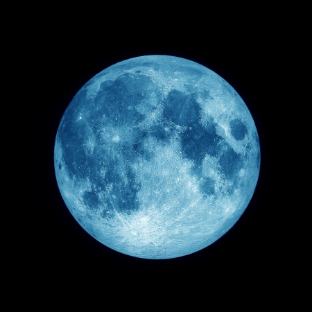 Close up of Full blue moon on black  space background, Blue lunar in dark night sky