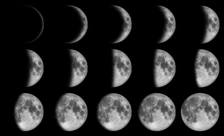 Fases de la Luna - 15 días en el cielo oscuro por la noche Foto de archivo