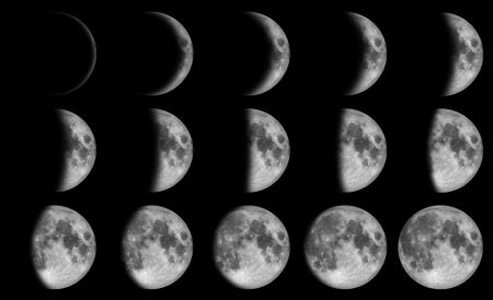 lapse: Phases of the moon - 15 day in the dark sky at night time