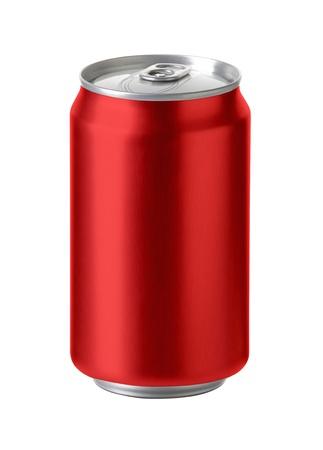 Canettes en aluminium rouge avec un espace exemplaire en blanc Banque d'images - 21931353