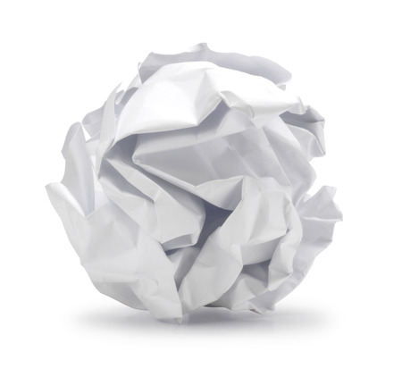 A screwed up piece of paper in ball shape , Crumpled sheet of paper isolated  , Junk paper can be recycle on white background
