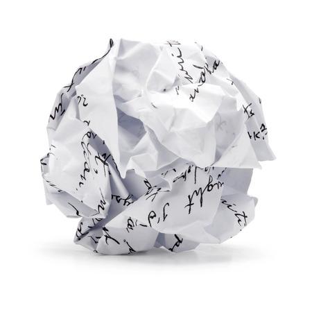 종이 공 - 고립 무료 손 스크립트 필기 용지, 둥근 모양의 종이의 망쳐 조각의 구겨진 시트, 정크 종이 흰색 배경에 재활용 할 수있다 스톡 콘텐츠