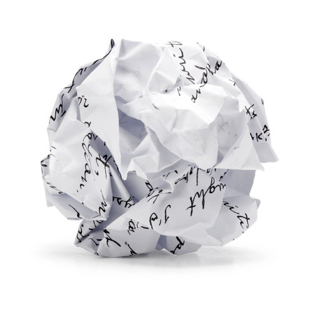 Paper ball - Crumpled sheet of free hand script writing paper isolated  , A screwed up piece of paper in round shape , Junk paper can be recycle on white background